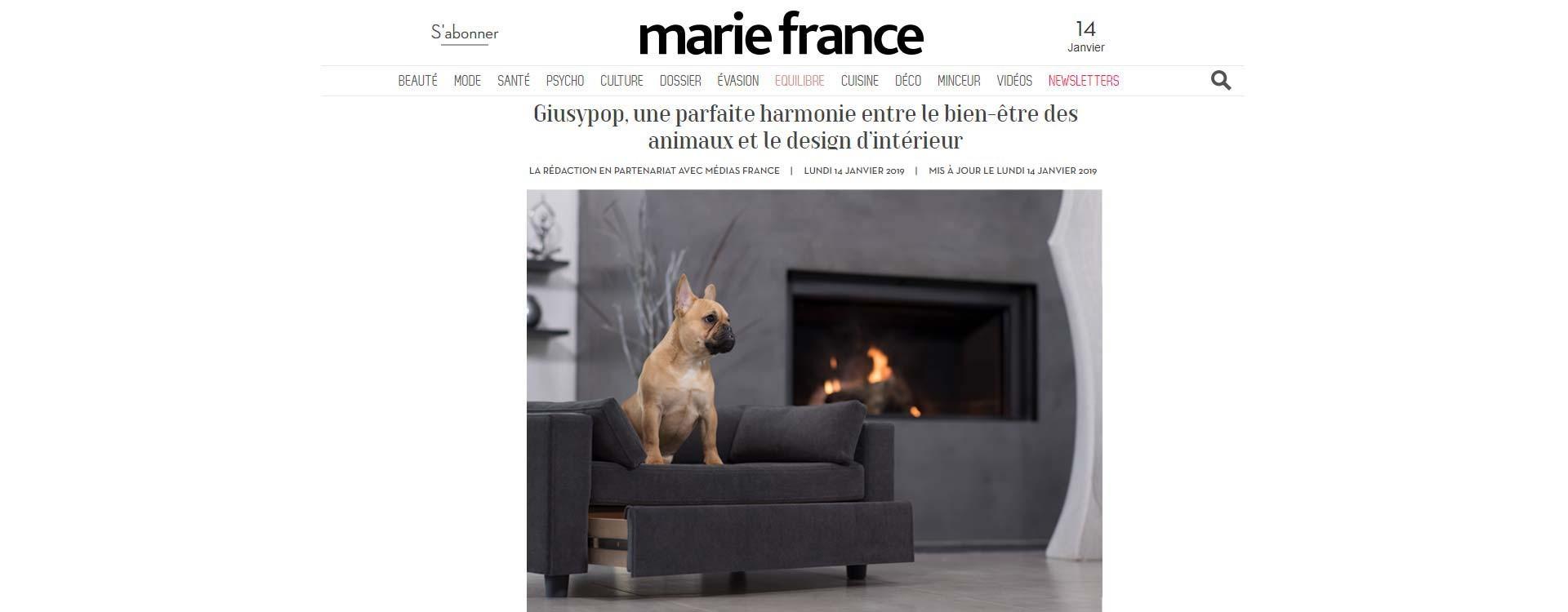 Il magazine mariefrance.fr parla di Giusypop