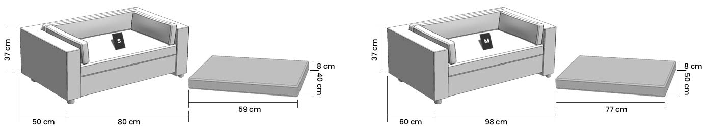 Dimensions of the removable cover for Armonia sofa