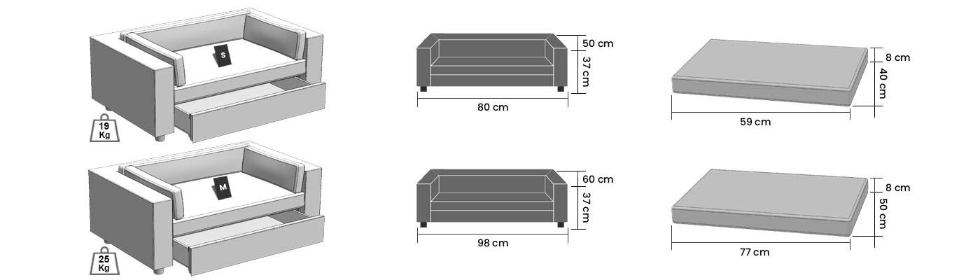 Dimensions des canapés pour chiens et chats Armonia